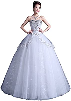 obqoo 2017 Brilliant Sweetheart Rhinestones Beaded Sequined Lace Tiered Ball Gown Wedding Dress Ivory