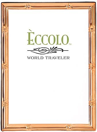 Holds a 5 x 7-Inch Photo Brown with Diamond Inlay Eccolo Made in Italy Marquetry Wood Frame 17.78 x 22.86 x 2.54 cm Beige