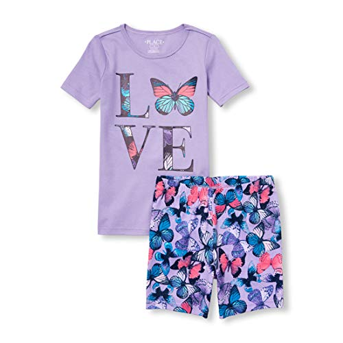 The Children's Place Girls' Big Short Sleeve Pajama Set, Lacrosse Violet neon, 6X/7 -
