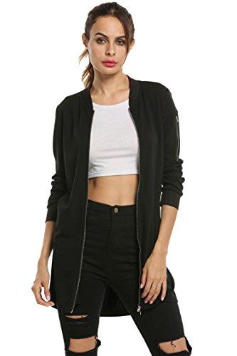 Donkap Women's Spring comfort Cool Lightweight Full-Zip Jacket Black (Transitional Natural Iron)
