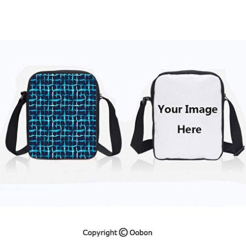 (Polyester Anti-Theft Cross-Body Bag Unisex Adult Watercolor Print Geometric Squares Lines Aqua Pool Inspired Design Navy Blue White and Sky Blue Zipper Bucket Anti Theft Bag For Journey)