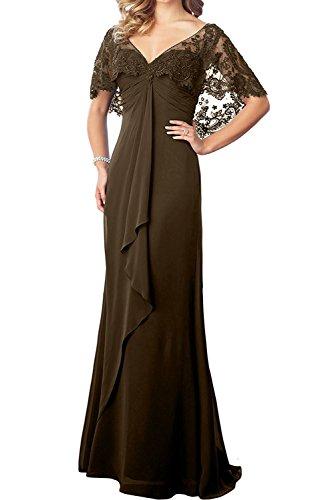 La Damenmode Brautmutterkleider Spitze Meerjungfrau mia Braun Ausschnitt Ballkleider Abendkleider V Trumpet Weinrot Braut 6Pfrwxq6U