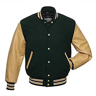 C147 Forest Green Wool Tan Leather Varsity Jacket Letterman Jacket
