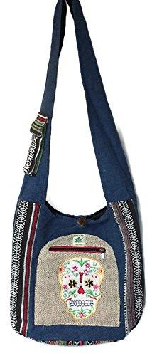Sugar Skull Hemp & Cotton Sling Hobo Cross Body Hand Crafted Shoulder Bag Purse Bundle Nepal Embroidered Patchwork ()
