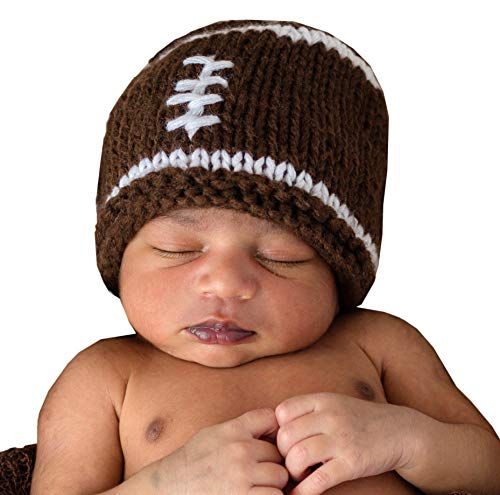 Huggalugs Baby Boys or Girls Brown Football Newborn Hand Knit Hospital Hat