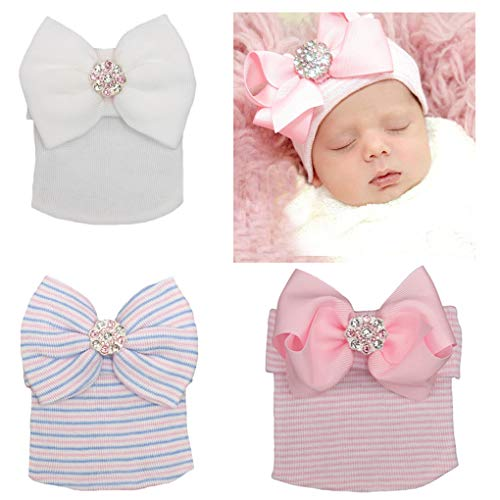 DANMY Big Bow Sparkle Gem Baby Girl Hat Newborn Knitting hat Set Head (PWB -
