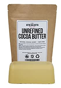 Unrefined Cocoa Butter by Better Shea Butter - Raw & 100% Pure - Natural Cocoa Scent - Use in DIY Lotion, Lotion Bars and Sticks, Lip Balm, Body Butter and Many More Skin Care Creations - 1 lb (16 oz)