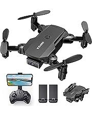 KIDOMO Mini opvouwbare drone met 1080p camera voor kinderen en FPV wifi live overtarging, RC mini quadcopter met ledverlichting en One Key start/landen, headless modus, 3D-flips, 2 accu's lange vliegtijd -F02
