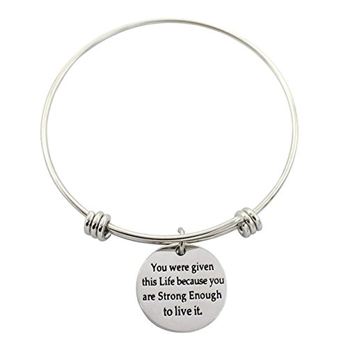 [Shankming Womens Silver Plated Stainless Steel Metal Bracelets Engraved Message Motivational Inspirational Words Round Charm Pendant Adjustable Bracelets (you were given this] (Common Costumes Ideas)