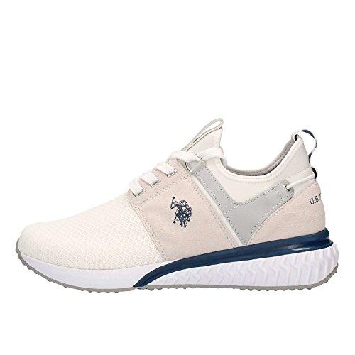 Scarpe Sneakers Uomo U.S. Polo Assn. in Tessuto Mesh Bianco e Camoscio Grigio Chiaro, Logo Laterale Blu sulla Tomaia. Taglia 40