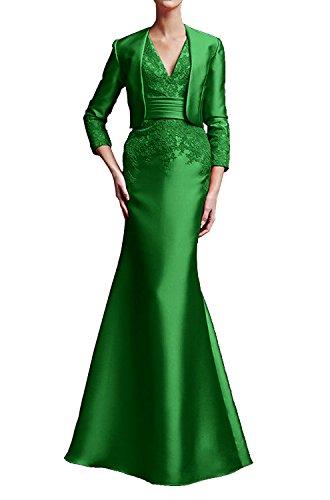 Braut Wassermelon Kleider Brautmutter Marie Grün Partykleider Elegant Festliche La Abendkleider Langarm Lang ZSnqHggOW