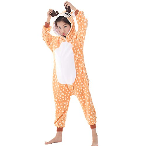Kids Fleece Onesie Deer Pajamas Animal Christmas Halloween Cosplay Costume]()