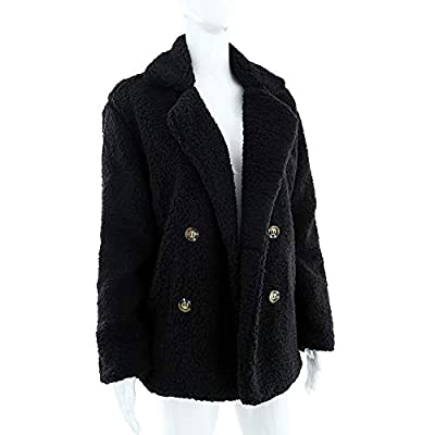 Womens Coats Lapel Fuzzy Fleece Overcoats Fashion Open Front Long Cardigan Faux Fur Warm Winter Outwear Jackets at Women's Coats Shop