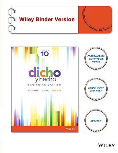 1119034795 - Dicho y hecho: Beginning Spanish 10e Binder-Ready Version + WileyPLUS Registration Card
