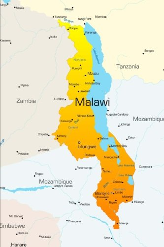 Map of Malawi Journal: 150 page lined notebook/diary
