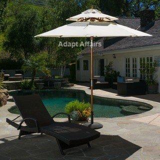 Invezo Impression Luxury Wooden Center Pole Patio Umbrella 9 Ft Diameter White Color With Base