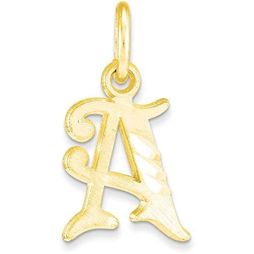 ond-cut Cursive Script Initial Pendant - Letter A (Gold Diamond Cut Name Pendant)