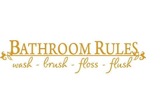 GOLD(CHROME MIRROR) 10'' x 40'' BATHROOM RULES Wash Brush Floss Flush Quote Saying Wall Sticker Home Decal Decor For Bathroom by Decaltor