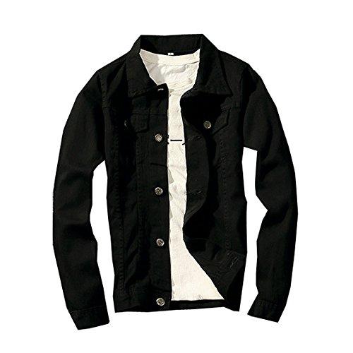 LifeHe Denim Jacket Men Slim Fit Fashion Jeans Coat (Medium, Black)