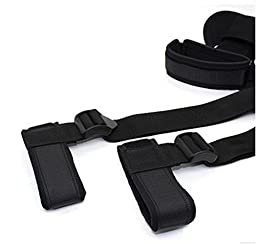 BoHong Fetish Bondage Restraints Straps Kits - Adjustable Hand & Ankle Cuffs With Soft Pillow For Female,Male and Couple Black