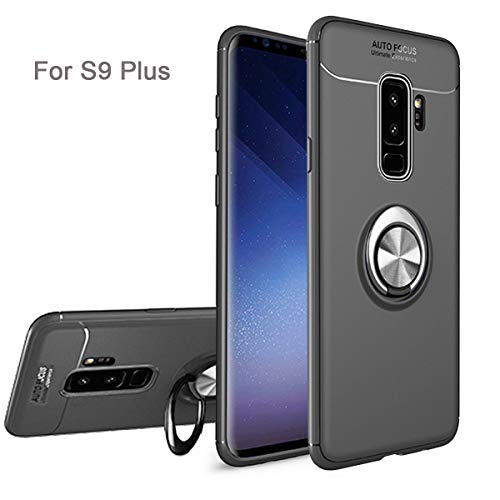 Newseego Compatible Samsung S9 Plus Case,360° Adjustable Ring Stand,Frosting Thin Soft Protective and Finger Ring Holder Kickstand Fit Magnetic Car Mount for Samsung S9 Plus-Black+Silver