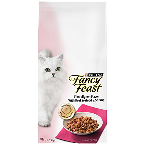 Purina Fancy Feast Gourmet Dry Cat Food Filet Mignon Flavor with Real Seafood and Shrimp (Royal Dish Pet)