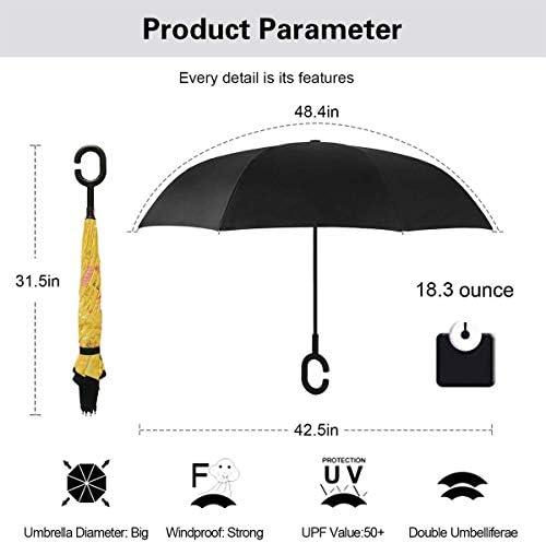 スプリングブリーズイエロー 逆さ傘 逆折り式傘 車用傘 耐風 撥水 遮光遮熱 大きい 手離れC型手元 梅雨 紫外線対策 晴雨兼用 ビジネス用 車用 UVカット