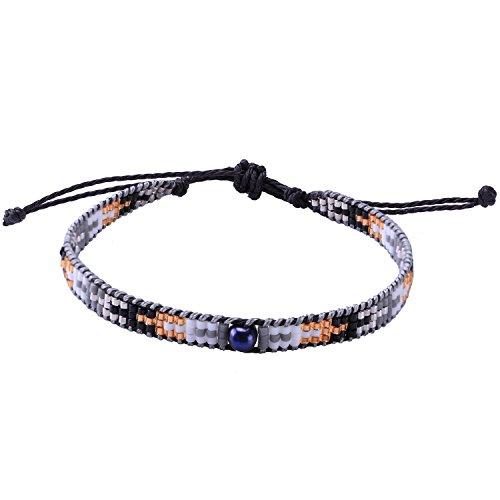 KELITCH Pearl Sead Beaded Wax rope Charm Wrap Bracelets Handmade Friendship New Women Jewelry (Black (Woven Friendship Bracelet)
