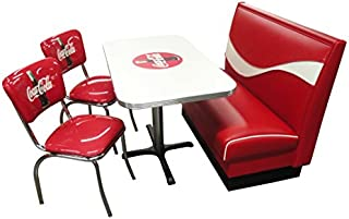"product image for Vitro Seating Products CB-I Dinette Furniture Set with Coke Dynamic Booth, 24"" x 42"" Table and 2 Bullseye Chrome Diner Chairs, Red and White (Pack of 4)"