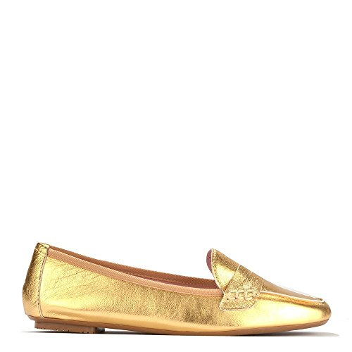 Elia B Shoes Rita Gold Leather Loafer Gold PnaZ02rJ