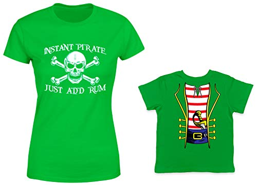 HAASE UNLIMITED Instant Pirate, Just Add Rum/Pirate Costume 2-Pack Toddler & Ladies T-Shirt (Kelly/Kelly, Small/18 Months)