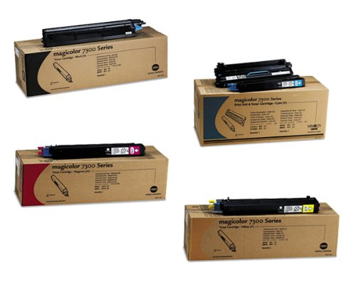 Color Printer Laser Magicolor (Minolta MagiColor 7300 Color Laser Printer OEM Toner Cartridge Set - 7,300 Pages Each)