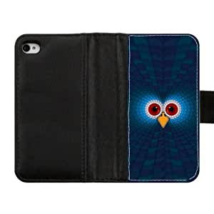 Lovely Durable Owls pattren Wallet Custom Diary Leather Case Cover for iPhone4 iPhone4S