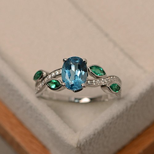 Swiss blue topaz engagement rings for women sterling silver oval cut handmade customized - Oval Cut Swiss