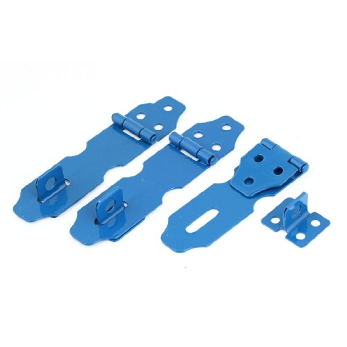 Metal Door Hasp (uxcell 3Set Cupboard Safety Padlock Door Latch Blue Metal Hasp Staple Set)