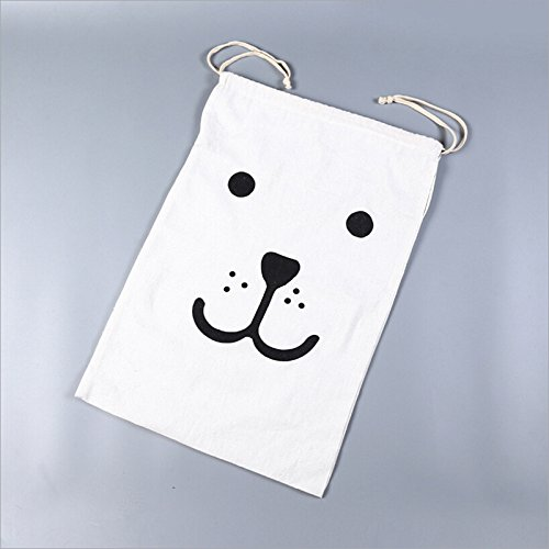 OUNONA Toy Storage Bag Patterned Canvas Organizers Bag Drawstring Sack for Kids Toys Baby Clothing Children Books Smile Bear