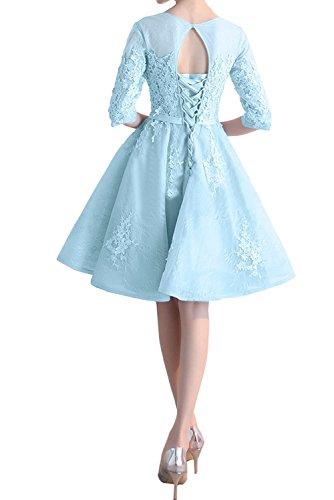 Kleider Braut Marie Wassermelon mit Aermel Spitze Damen Cocktailkleider Lang La Jugendweihe Blau Hell Abendkleider 05qZZH