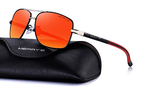 MERRY'S Mens Driving Polarized Sunglasses for Men Square 45mm Sun glasses S8714 (Red Mirror, 65) ()