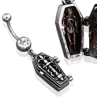 Coffin Belly Button Ring - Really Opens! - 316L Surgical Steel 14g Dangle Navel Ring - Silver Tone