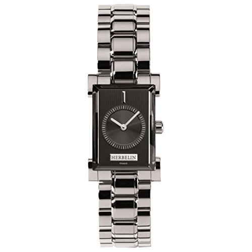 Michel Herbelin Women's Steel Bracelet & Case Sapphire Crystal Quartz Black Dial Analog Watch 17458/B14