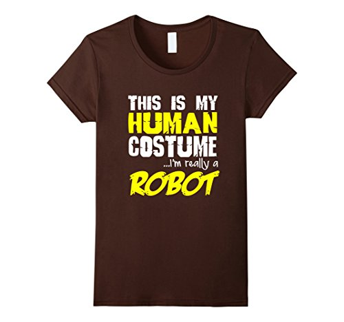 [Women's FUNNY REALLY A ROBOT T-SHIRT Halloween Costume XL Brown] (Female Robot Costumes)