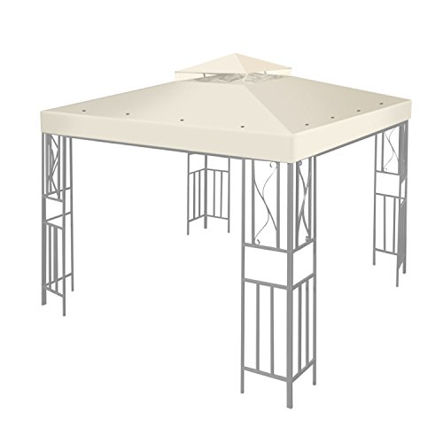 Flexzion 10'x10' Gazebo Replacement Canopy Top Cover (Ivory) - Dual Tier with Plain Edge Polyester UV30 Water Resistant for Outdoor Garden Patio Pavilion Sun Shade