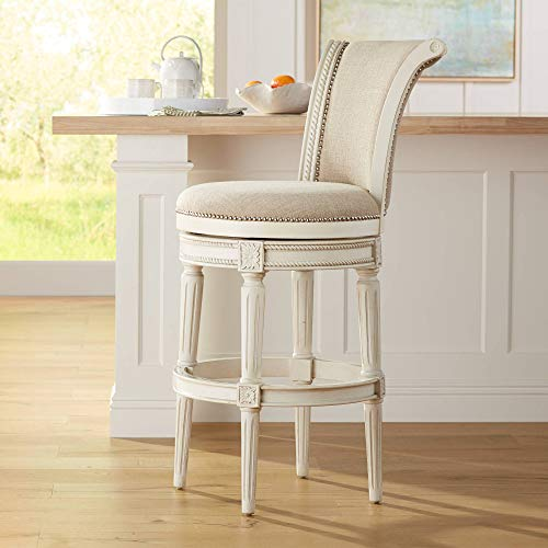 "Oliver 30"" Cream Fabric Scroll Back Swivel Bar Stool - 55 Downing Street"