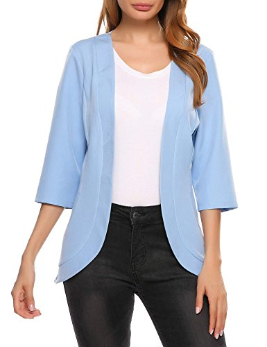 Collarless 3/4 Sleeve (Elever Women's Lightweight 3/4 Sleeve Open Front Light Blue Blazer Jacket L)