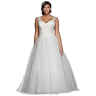 David's Bridal Tulle Plus Size Wedding Dress with Illusion Straps Style 9WG3786