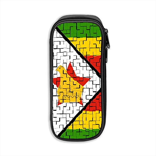 ZKIRESD Zimbabwe Flag Puzzle Pencil Case Holder Zipper Pencil Bag Makeup Bag Cosmetic Bag Coin Purse Pouch Travel Toiletry Bag Multi-Purpose Bag 8.27x3.54 Inches
