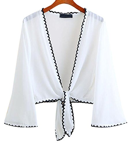 Women Thin Chiffon Beach Cropped Cover Up Shawl Cardigan Front Tie Kimono Shrug (White-black)