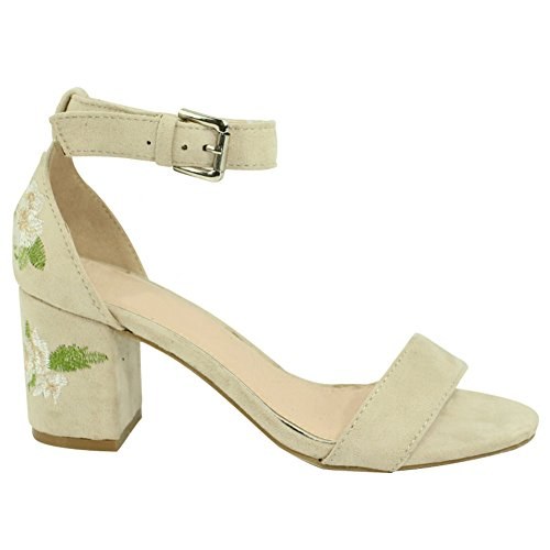Womens Bouquets Sandals Dress (Top Beige Embroidered Flower Dress Sandals for Women New Fun Cute Summer Block Mid Size Heel Open Toe Wedge Buckle Prime Stylish Modern Formal Wedding Evening Shoe Ladies Teen Girl (Size 6, Beige))