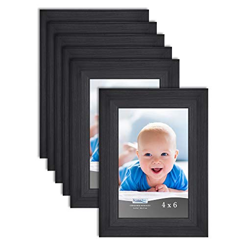 Icona Bay 4x6 Picture Frame (6 Pack, Obsidian Black Wood Finish), Black Photo Frame 4 x 6, Composite Wood Frame for Walls or Tables, Set of 6 Cherished Memories Collection from Icona Bay