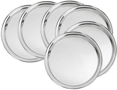 King International Round Dinner Plate,Mess Plate Dinner Plate | Set of 6 Mess Trays Great for Camping, 30 cm Stainless steel is the perfect material for outdoor tableware ()